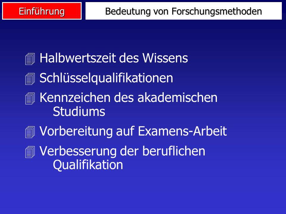 Einführung Bedeutung von Forschungsmethoden 4 Halbwertszeit des Wissens 4 Schlüsselqualifikationen 4 Kennzeichen des akademischen Studiums 4 Vorbereitung auf Examens-Arbeit 4 Verbesserung der beruflichen Qualifikation