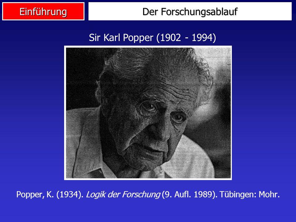 Einführung Der Forschungsablauf Sir Karl Popper (1902 - 1994) Popper, K.