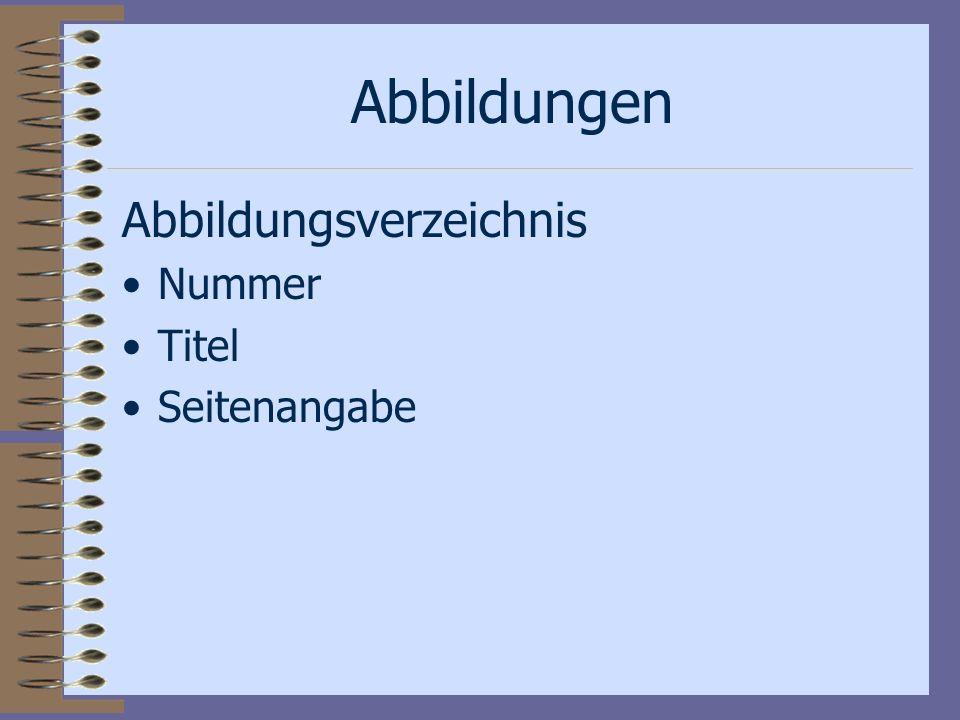 Abbildungen Abbildungsverzeichnis Nummer Titel Seitenangabe