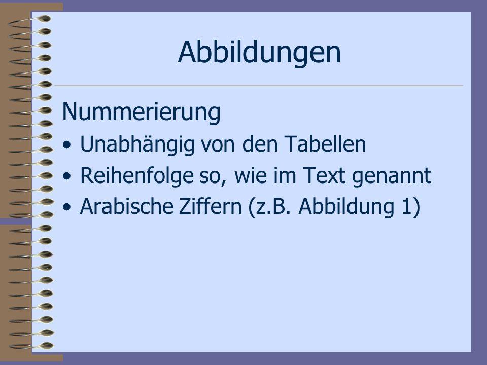 Abbildungen Nummerierung Unabhängig von den Tabellen Reihenfolge so, wie im Text genannt Arabische Ziffern (z.B. Abbildung 1)