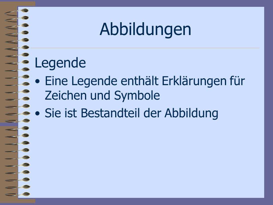 Abbildungen Legende Eine Legende enthält Erklärungen für Zeichen und Symbole Sie ist Bestandteil der Abbildung