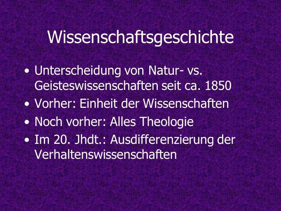 Wissenschaftsgeschichte Unterscheidung von Natur- vs. Geisteswissenschaften seit ca. 1850 Vorher: Einheit der Wissenschaften Noch vorher: Alles Theolo