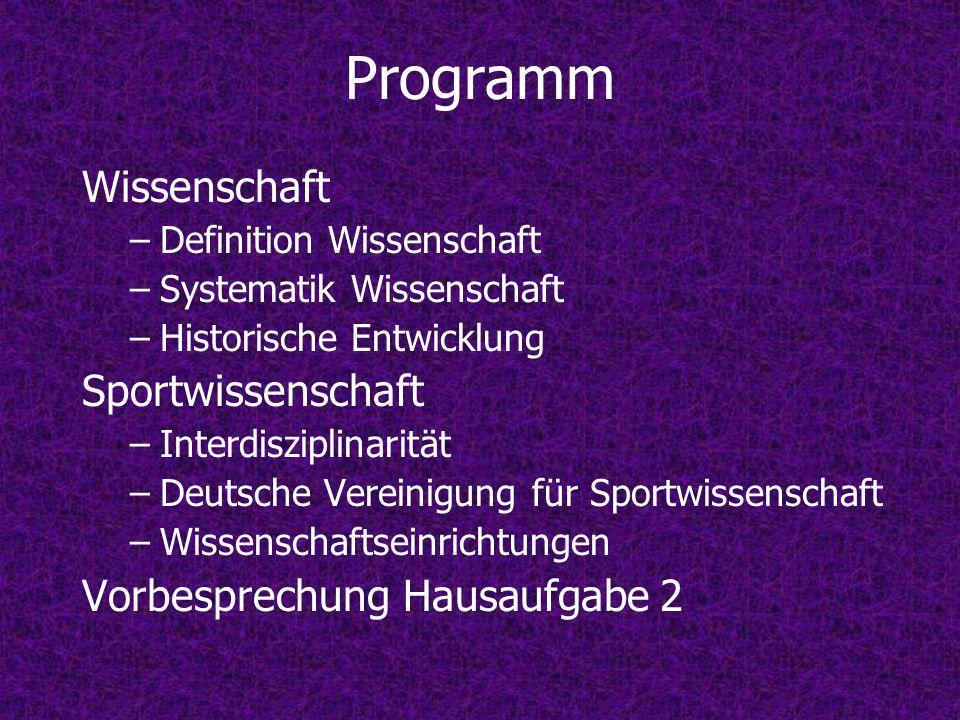 Programm Wissenschaft –Definition Wissenschaft –Systematik Wissenschaft –Historische Entwicklung Sportwissenschaft –Interdisziplinarität –Deutsche Ver