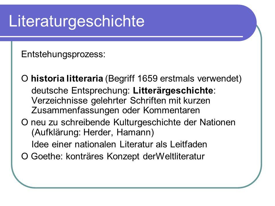 Literaturgeschichte Entstehungsprozess: O historia litteraria (Begriff 1659 erstmals verwendet) deutsche Entsprechung: Litterärgeschichte: Verzeichnis