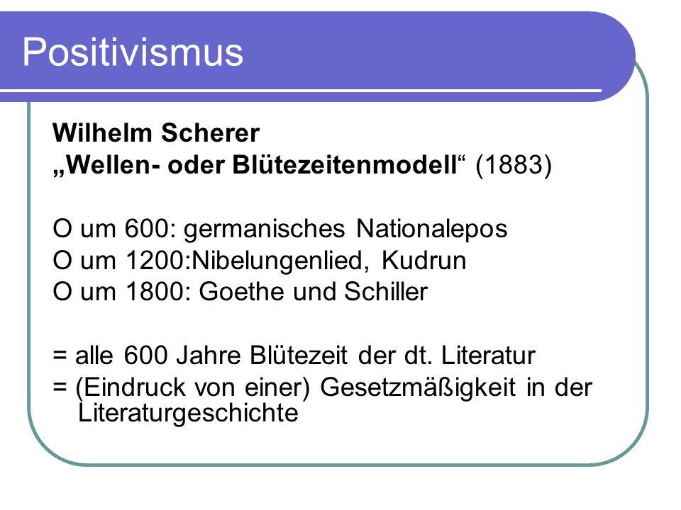 Positivismus Wilhelm Scherer Wellen- oder Blütezeitenmodell (1883) O um 600: germanisches Nationalepos O um 1200:Nibelungenlied, Kudrun O um 1800: Goe