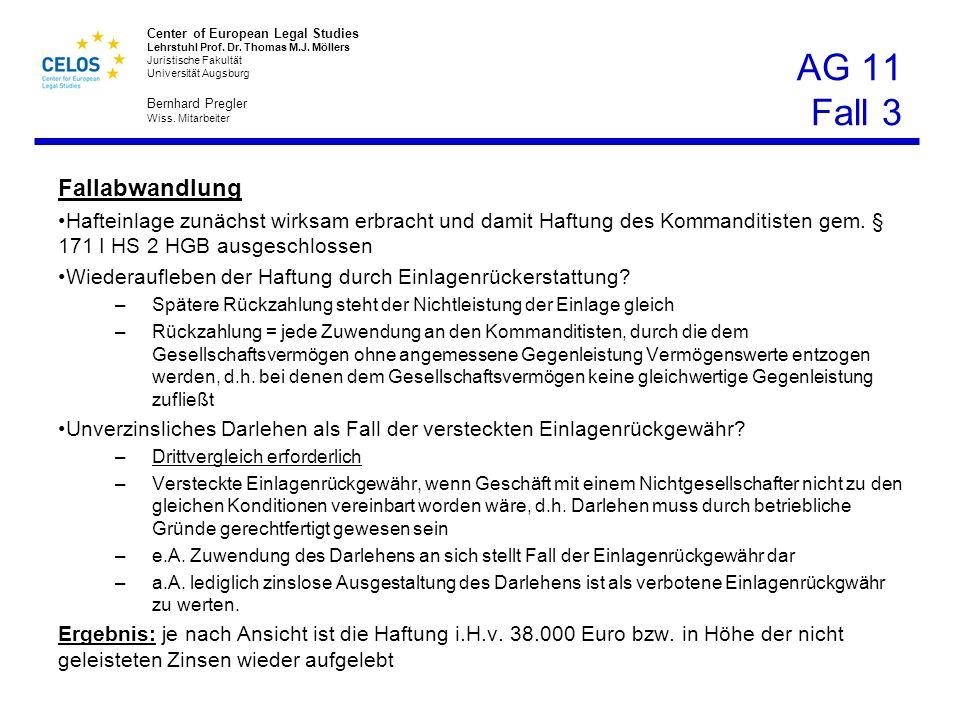 Center of European Legal Studies Lehrstuhl Prof. Dr. Thomas M.J. Möllers Juristische Fakultät Universität Augsburg Bernhard Pregler Wiss. Mitarbeiter