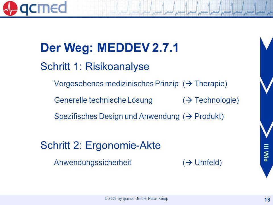 © 2008 by qcmed GmbH, Peter Knipp 18 Der Weg: MEDDEV 2.7.1 Schritt 1: Risikoanalyse Vorgesehenes medizinisches Prinzip ( Therapie) Generelle technisch