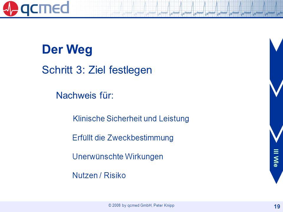© 2008 by qcmed GmbH, Peter Knipp 19 Der Weg Schritt 3: Ziel festlegen Nachweis für: Klinische Sicherheit und Leistung Erfüllt die Zweckbestimmung Une