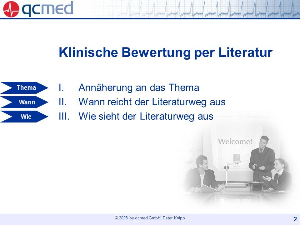 © 2008 by qcmed GmbH, Peter Knipp 23 Gliederung 1/2 1Einleitung, Ziel 2Produktbeschreibung 2.1Zweckbestimmung 2.2Indikationen, Kontraindikationen 2.3Vorgesehener Anwender 2.4Anwendungsprozess 3Ergebnisse von Risikoanalyse und Ergonomieprozess 4Klinische Daten 4.1Markterfahrung 4.2Literaturdaten 4.3Klinische Prüfung II Wann I Thema III Wie