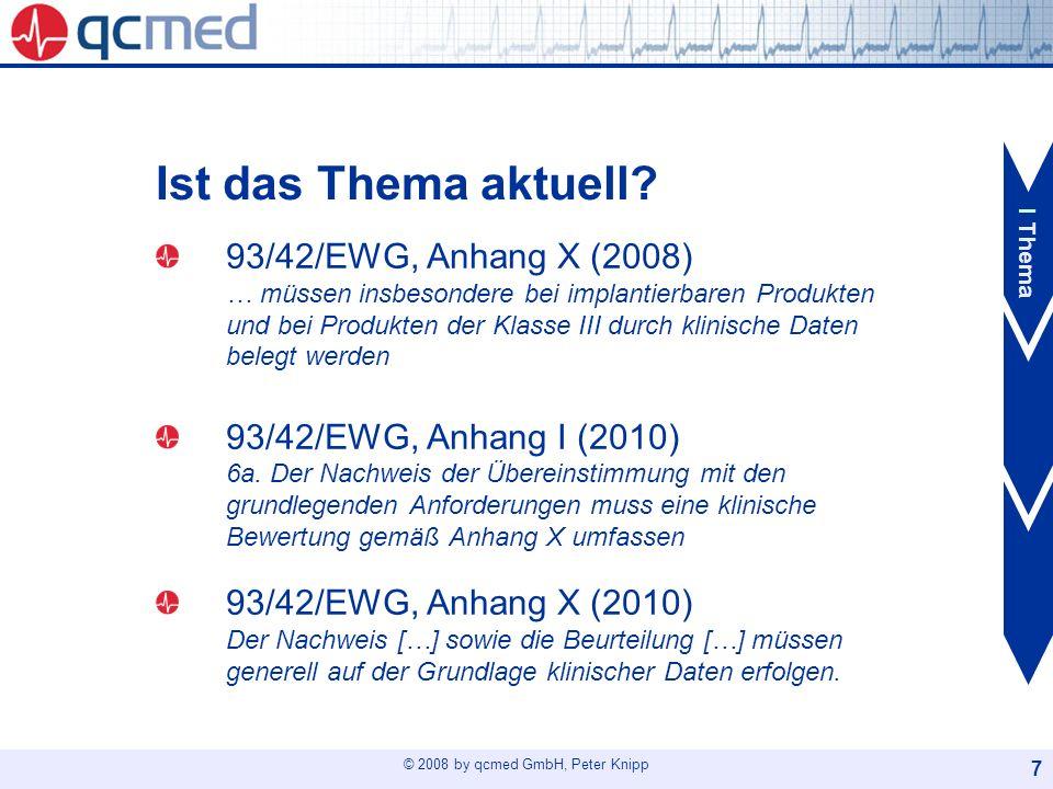 © 2008 by qcmed GmbH, Peter Knipp 18 Der Weg: MEDDEV 2.7.1 Schritt 1: Risikoanalyse Vorgesehenes medizinisches Prinzip ( Therapie) Generelle technische Lösung ( Technologie) Spezifisches Design und Anwendung( Produkt) Schritt 2: Ergonomie-Akte Anwendungssicherheit( Umfeld) II Wann I Thema III Wie