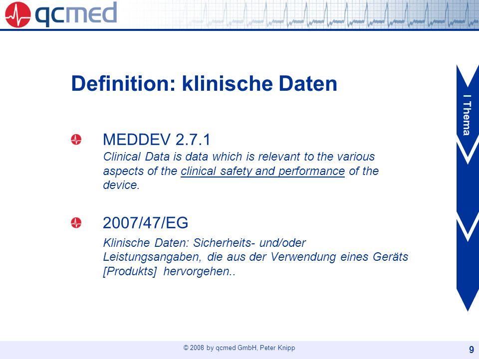 © 2008 by qcmed GmbH, Peter Knipp 20 Der Weg Schritt 4: Literatursuche Was: Anerkannte wiss.