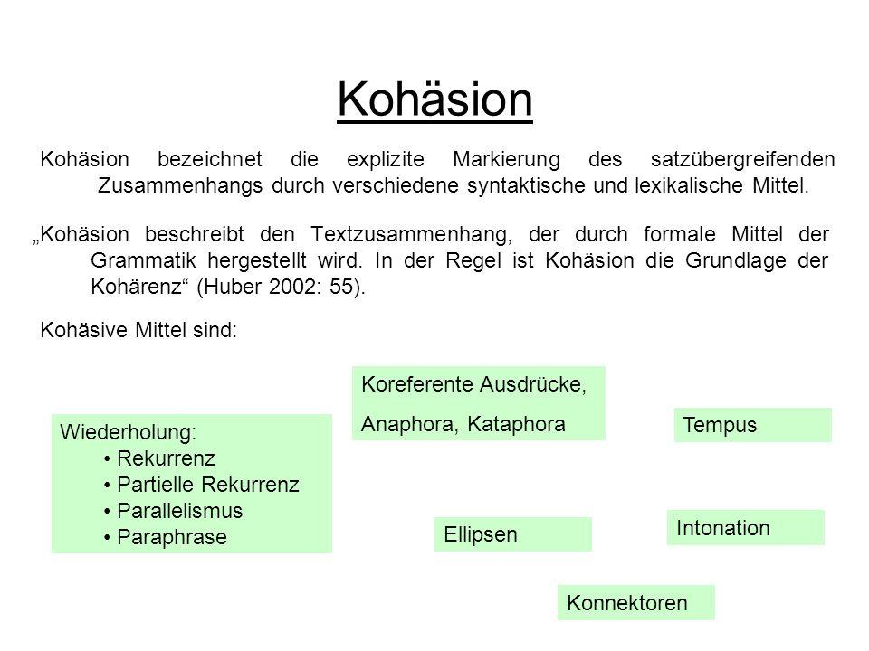 Kohäsion Kohäsion beschreibt den Textzusammenhang, der durch formale Mittel der Grammatik hergestellt wird. In der Regel ist Kohäsion die Grundlage de