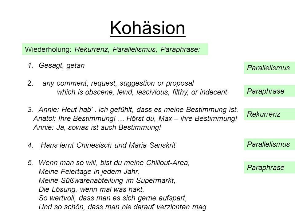Wiederholung: Rekurrenz, Parallelismus, Paraphrase: Kohäsion 1.Gesagt, getan 2. any comment, request, suggestion or proposal which is obscene, lewd, l