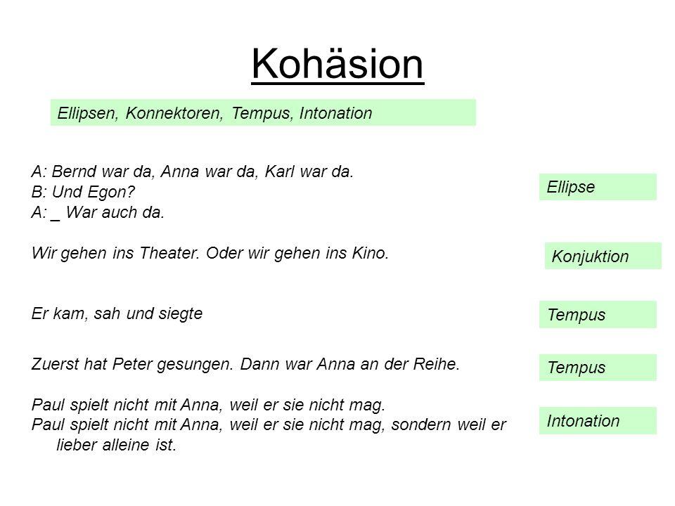 Ellipsen, Konnektoren, Tempus, Intonation Kohäsion A: Bernd war da, Anna war da, Karl war da. B: Und Egon? A: _ War auch da. Wir gehen ins Theater. Od