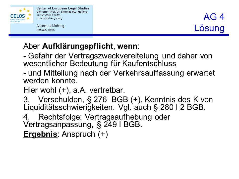 Center of European Legal Studies Lehrstuhl Prof. Dr. Thomas M.J. Möllers Juristische Fakultät Universität Augsburg Ben Bornemann Center of European Le