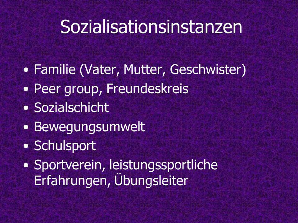 Sozialisationsinstanzen Familie (Vater, Mutter, Geschwister) Peer group, Freundeskreis Sozialschicht Bewegungsumwelt Schulsport Sportverein, leistungssportliche Erfahrungen, Übungsleiter