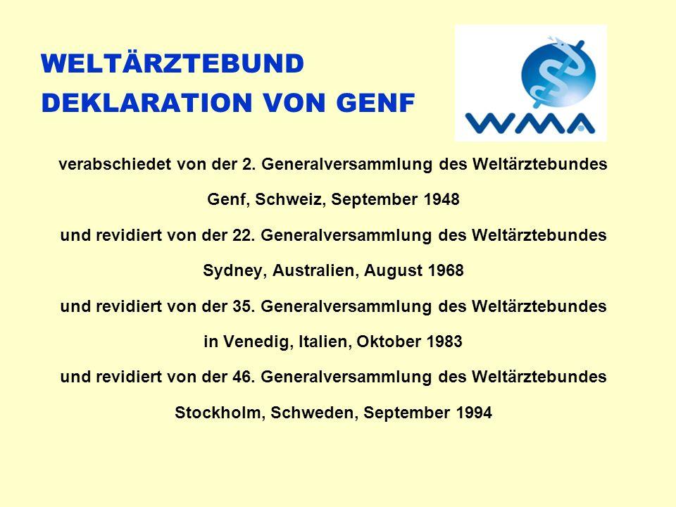 WELTÄRZTEBUND DEKLARATION VON GENF verabschiedet von der 2.