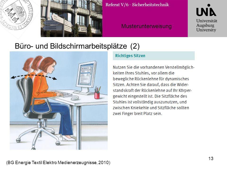 Referat V/6 - Sicherheitstechnik Musterunterweisung 13 Büro- und Bildschirmarbeitsplätze (2) (BG Energie Textil Elektro Medienerzeugnisse, 2010)