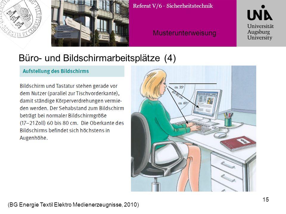 Referat V/6 - Sicherheitstechnik Musterunterweisung 15 Büro- und Bildschirmarbeitsplätze (4) (BG Energie Textil Elektro Medienerzeugnisse, 2010)