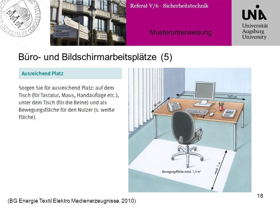 Referat V/6 - Sicherheitstechnik Musterunterweisung 16 Büro- und Bildschirmarbeitsplätze (5) (BG Energie Textil Elektro Medienerzeugnisse, 2010)