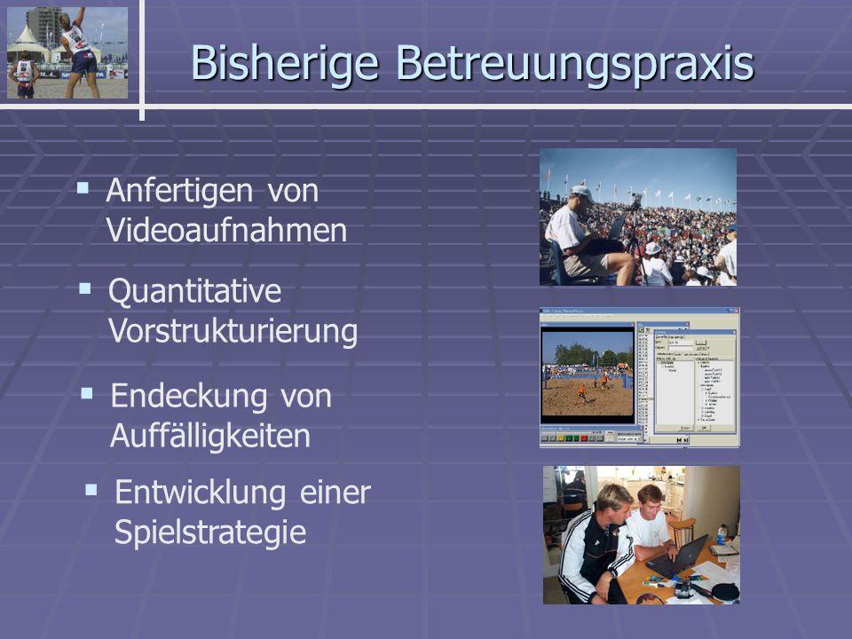 Bisherige Betreuungspraxis Anfertigen von Videoaufnahmen Quantitative Vorstrukturierung Entwicklung einer Spielstrategie Endeckung von Auffälligkeiten