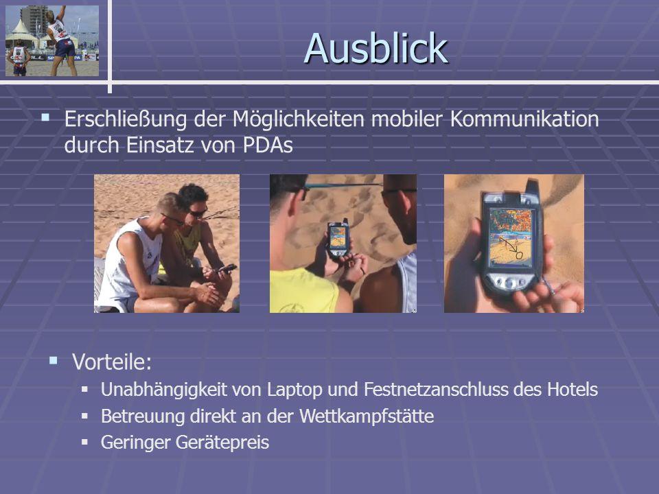 Ausblick Erschließung der Möglichkeiten mobiler Kommunikation durch Einsatz von PDAs Vorteile: Unabhängigkeit von Laptop und Festnetzanschluss des Hotels Betreuung direkt an der Wettkampfstätte Geringer Gerätepreis