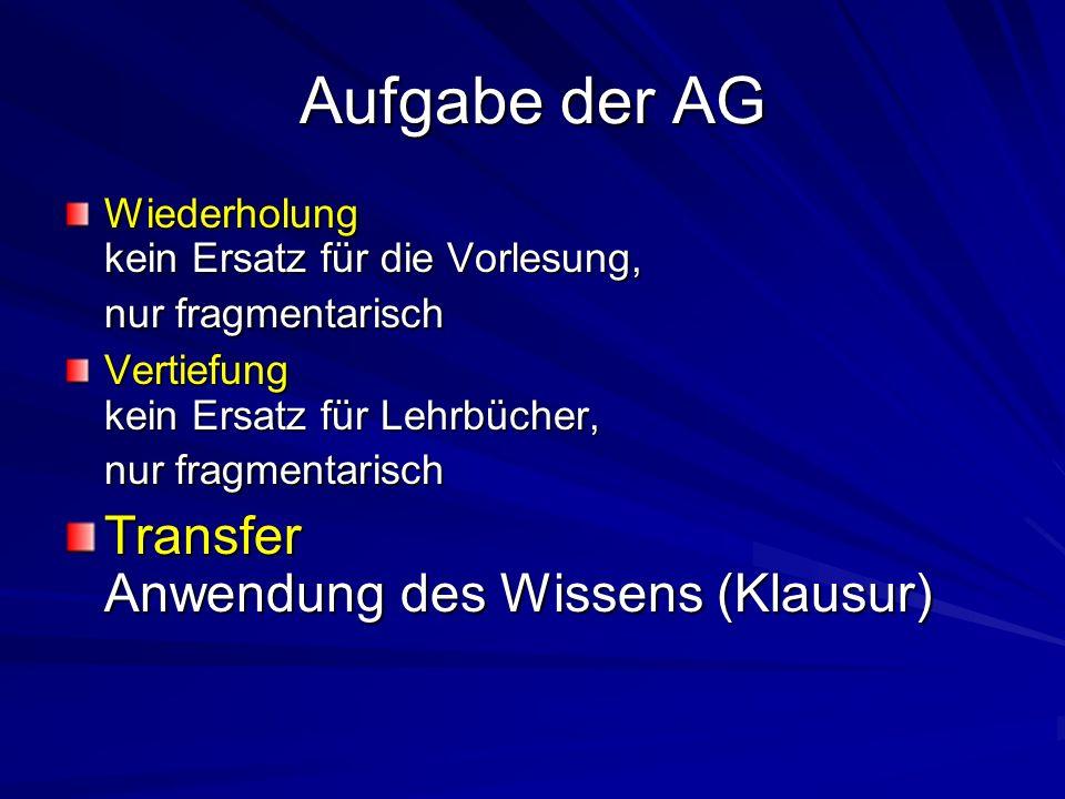 Aufgabe der AG Wiederholung kein Ersatz für die Vorlesung, nur fragmentarisch Vertiefung kein Ersatz für Lehrbücher, nur fragmentarisch Transfer Anwen