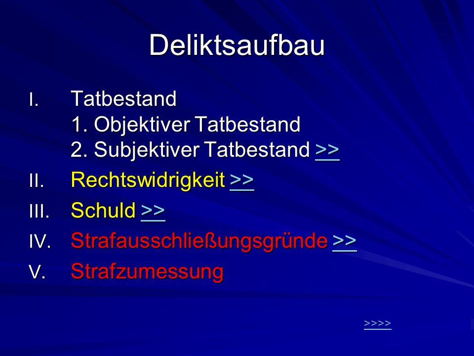 Deliktsaufbau I. Tatbestand 1. Objektiver Tatbestand 2. Subjektiver Tatbestand >> >> II. Rechtswidrigkeit >> >> III. Schuld >> >> IV. Strafausschließu