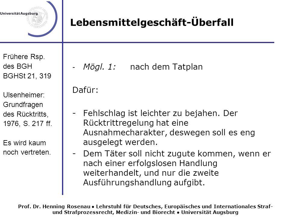 Lebensmittelgeschäft-Überfall Ständige Rsp.