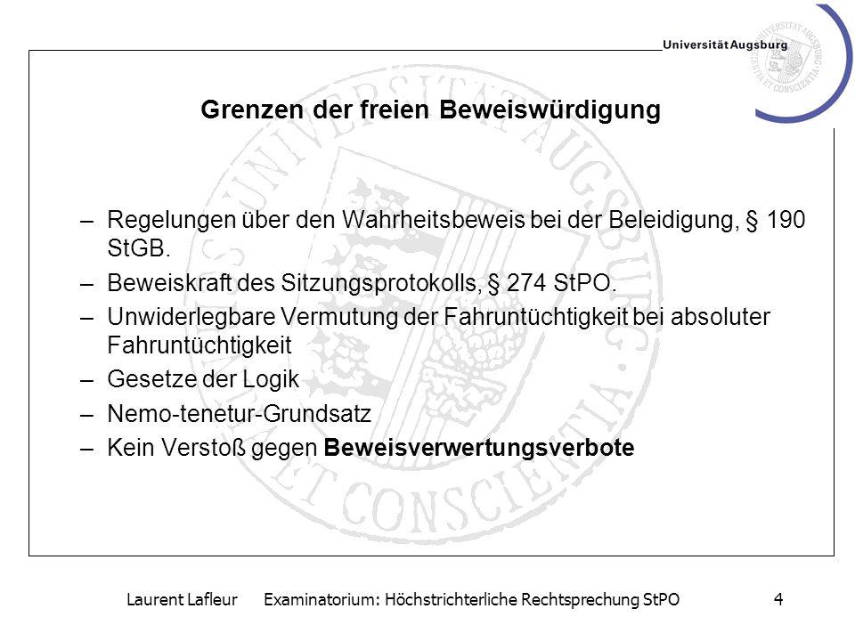 Laurent Lafleur Examinatorium: Höchstrichterliche Rechtsprechung StPO5 Begriff des Beweisverwertungsverbots: Ausschluss bestimmter Beweisergebnisse von der Berücksichtigung im Urteil.