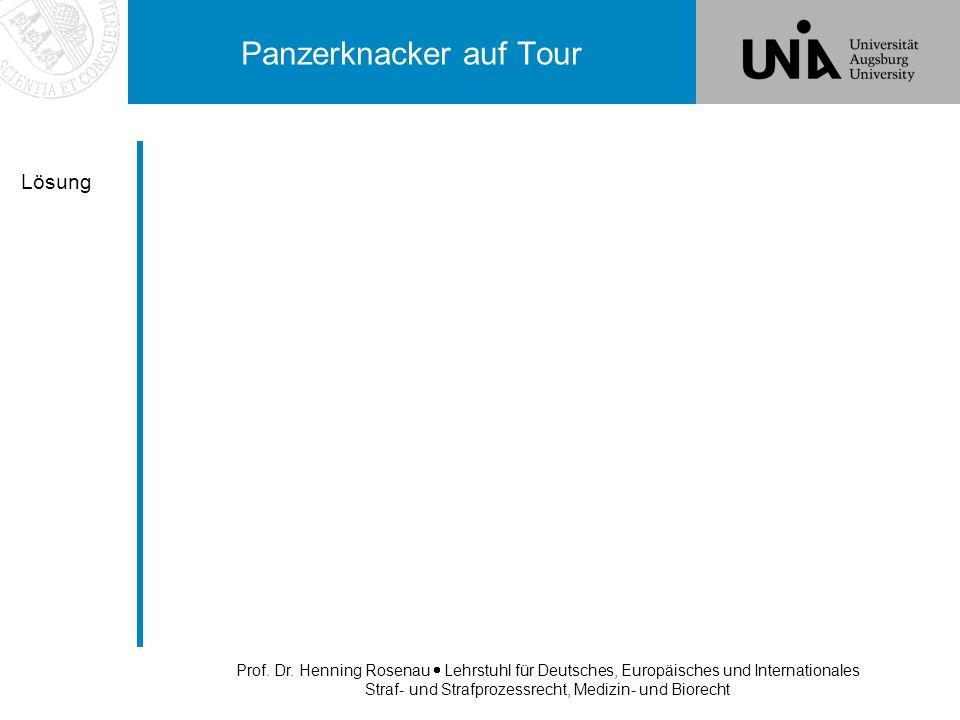Prof. Dr. Henning Rosenau Lehrstuhl für Deutsches, Europäisches und Internationales Straf- und Strafprozessrecht, Medizin- und Biorecht Panzerknacker