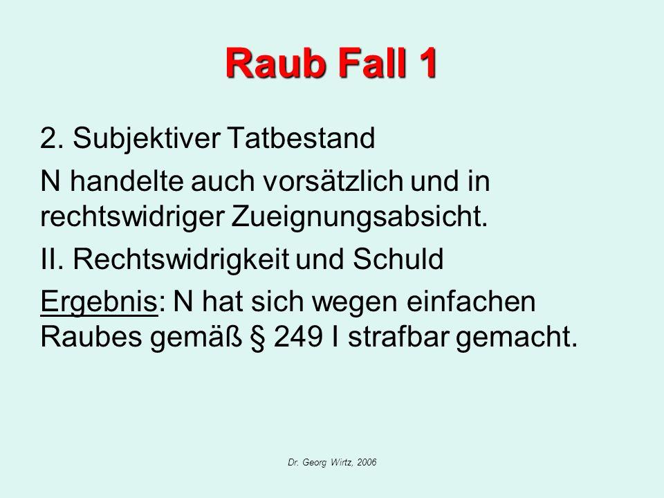 Dr. Georg Wirtz, 2006 Raub Fall 1 2. Subjektiver Tatbestand N handelte auch vorsätzlich und in rechtswidriger Zueignungsabsicht. II. Rechtswidrigkeit