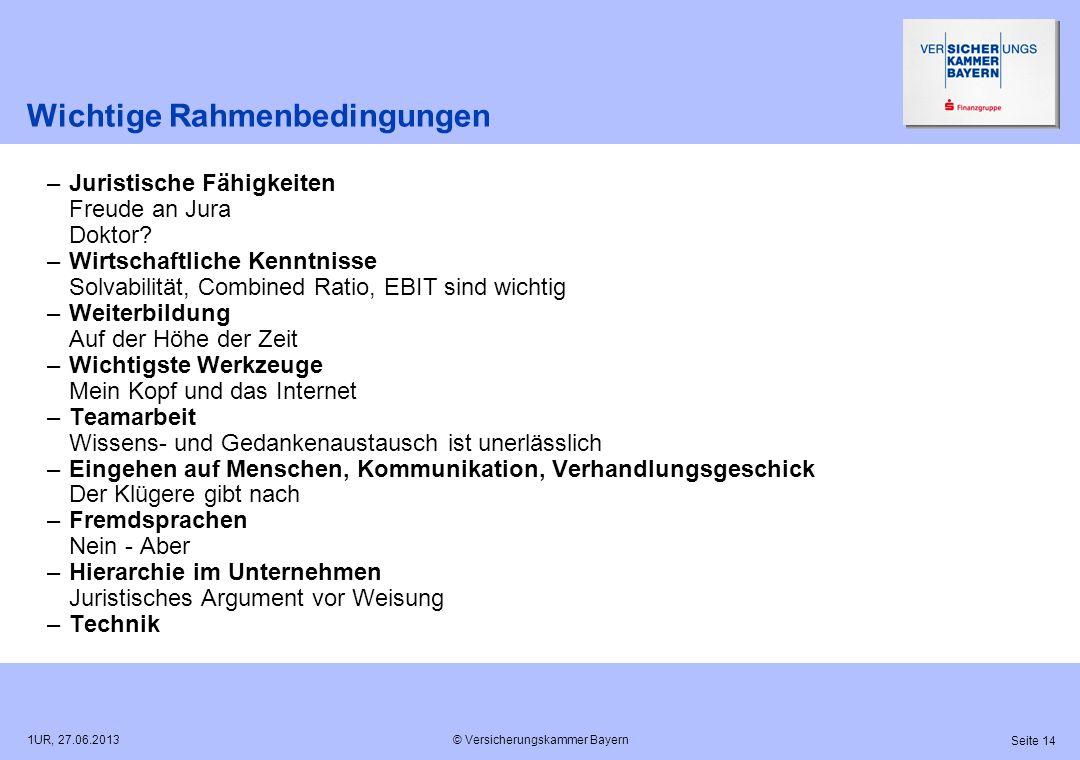 © Versicherungskammer Bayern Seite 14 1UR, 27.06.2013 Wichtige Rahmenbedingungen –Juristische Fähigkeiten Freude an Jura Doktor? –Wirtschaftliche Kenn