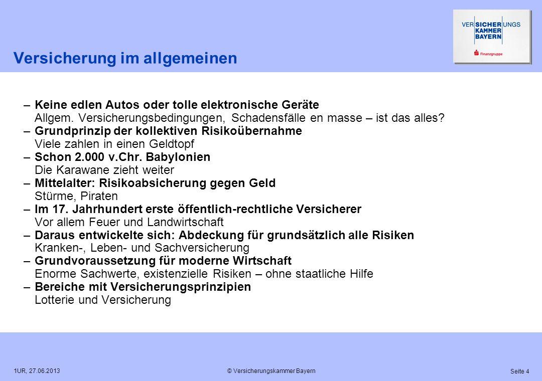 © Versicherungskammer Bayern Seite 4 1UR, 27.06.2013 Versicherung im allgemeinen –Keine edlen Autos oder tolle elektronische Geräte Allgem. Versicheru
