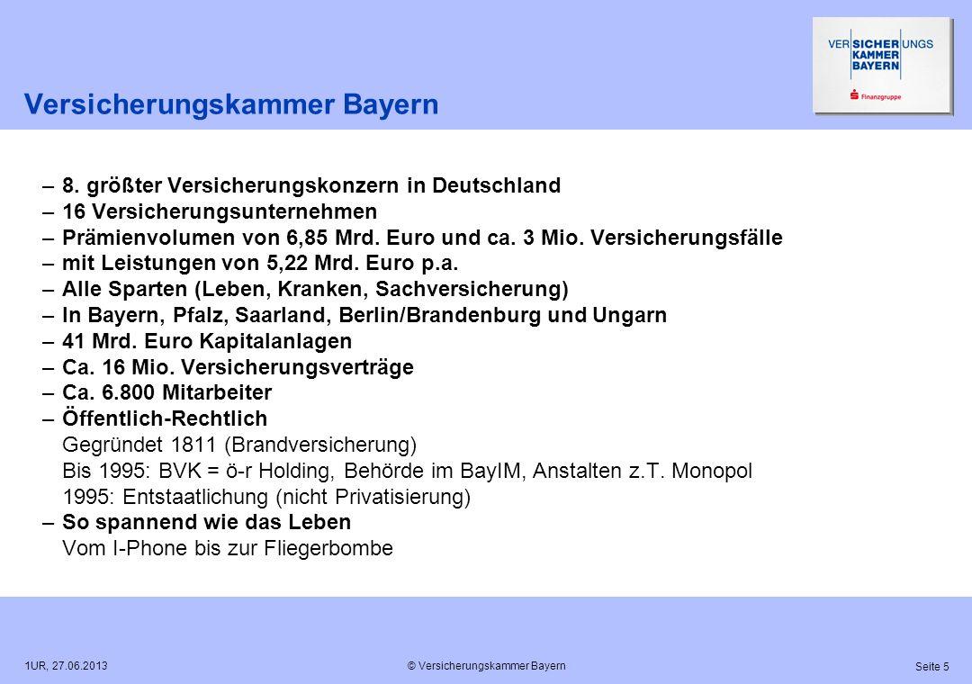 © Versicherungskammer Bayern Seite 5 1UR, 27.06.2013 Versicherungskammer Bayern –8. größter Versicherungskonzern in Deutschland –16 Versicherungsunter