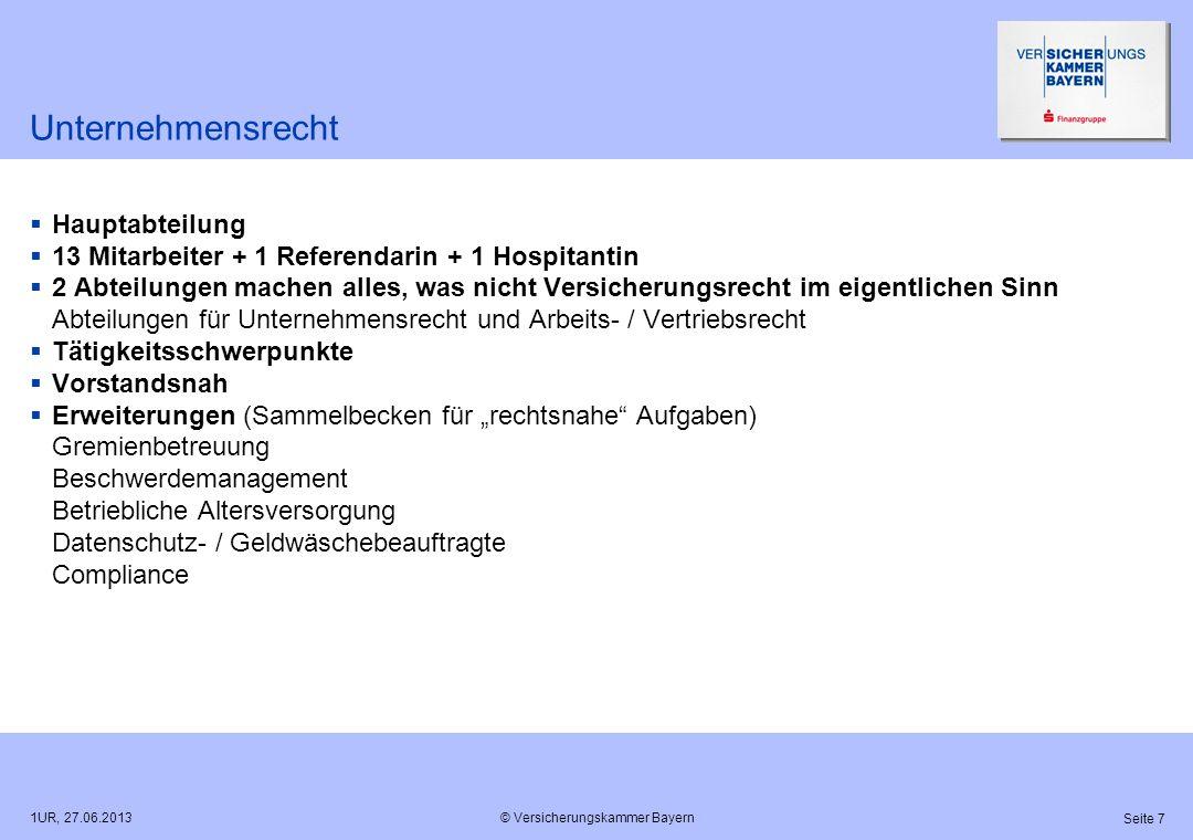 © Versicherungskammer Bayern Seite 7 1UR, 27.06.2013 Unternehmensrecht Hauptabteilung 13 Mitarbeiter + 1 Referendarin + 1 Hospitantin 2 Abteilungen ma