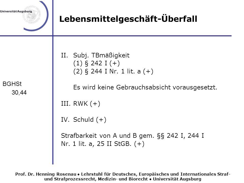 Lebensmittelgeschäft-Überfall BGHSt 30,44 II.Subj.