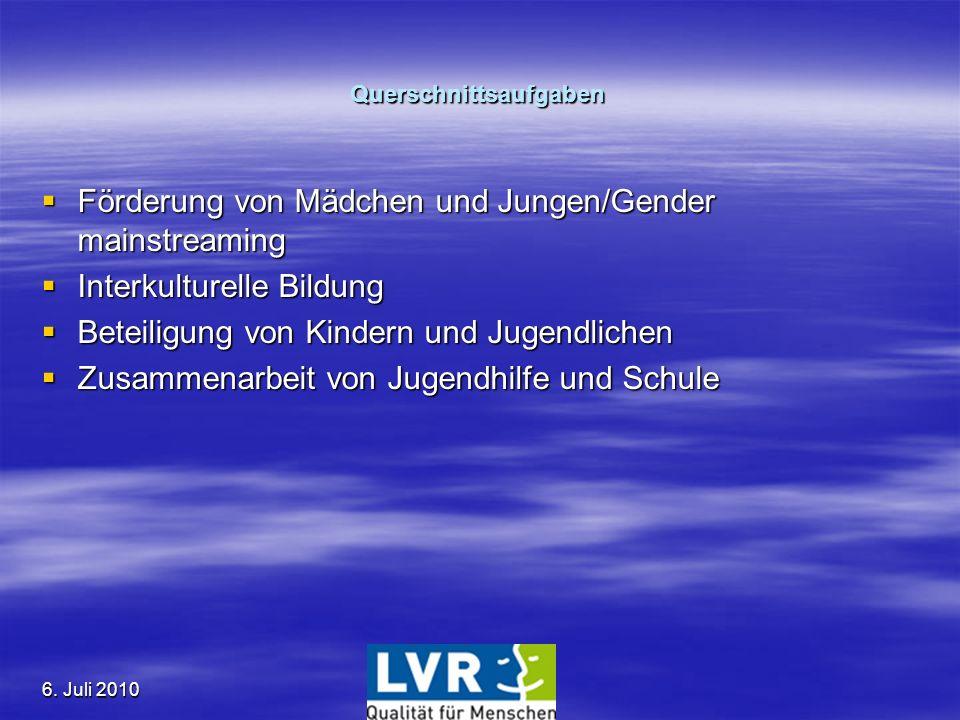 6. Juli 2010 Querschnittsaufgaben Förderung von Mädchen und Jungen/Gender mainstreaming Förderung von Mädchen und Jungen/Gender mainstreaming Interkul