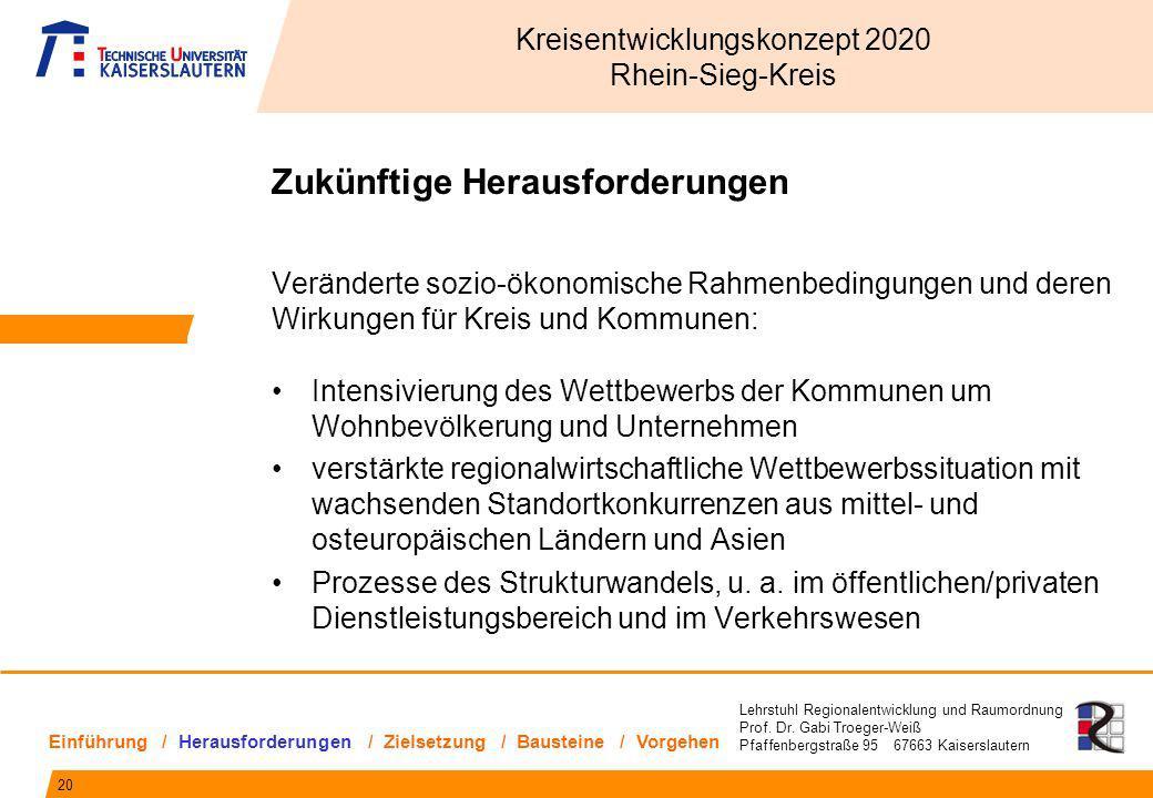 Lehrstuhl Regionalentwicklung und Raumordnung Prof. Dr. Gabi Troeger-Weiß Pfaffenbergstraße 95 67663 Kaiserslautern Zukünftige Herausforderungen Verän