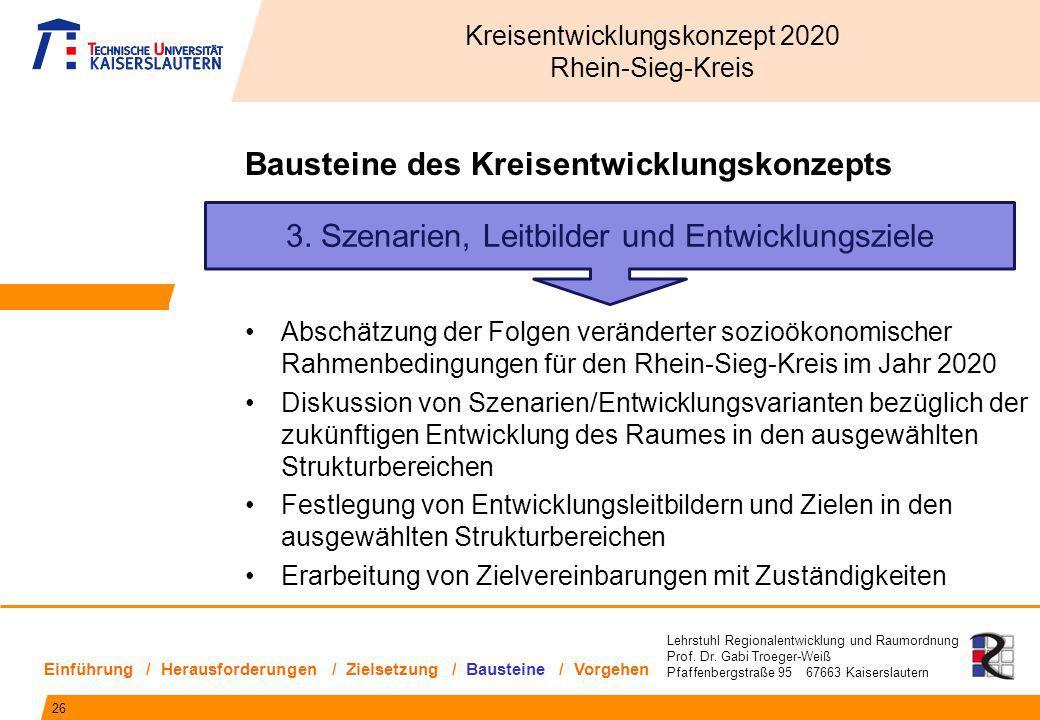 Lehrstuhl Regionalentwicklung und Raumordnung Prof. Dr. Gabi Troeger-Weiß Pfaffenbergstraße 95 67663 Kaiserslautern 3. Szenarien, Leitbilder und Entwi