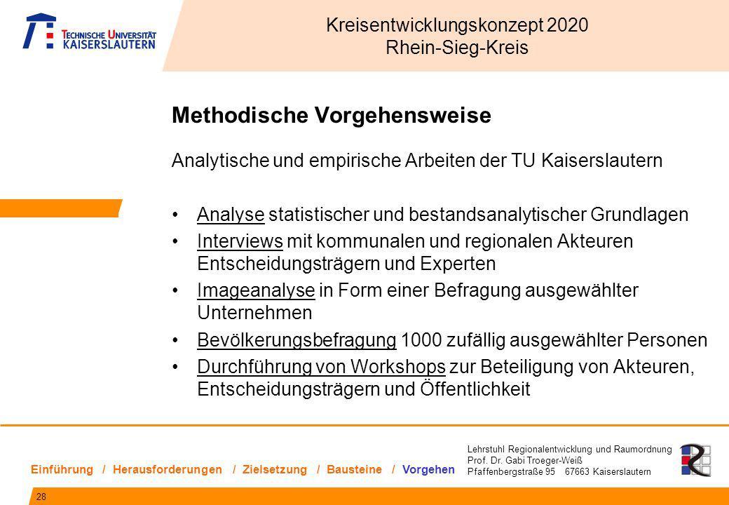 Lehrstuhl Regionalentwicklung und Raumordnung Prof. Dr. Gabi Troeger-Weiß Pfaffenbergstraße 95 67663 Kaiserslautern Methodische Vorgehensweise Analyti