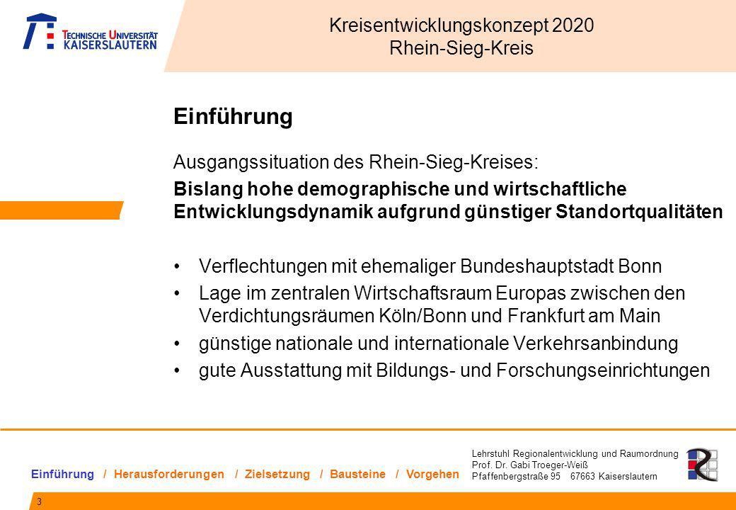 Lehrstuhl Regionalentwicklung und Raumordnung Prof. Dr. Gabi Troeger-Weiß Pfaffenbergstraße 95 67663 Kaiserslautern Einführung Ausgangssituation des R