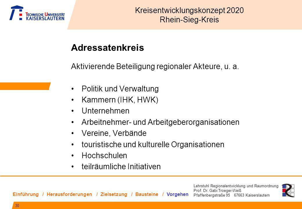 Lehrstuhl Regionalentwicklung und Raumordnung Prof. Dr. Gabi Troeger-Weiß Pfaffenbergstraße 95 67663 Kaiserslautern Adressatenkreis Aktivierende Betei