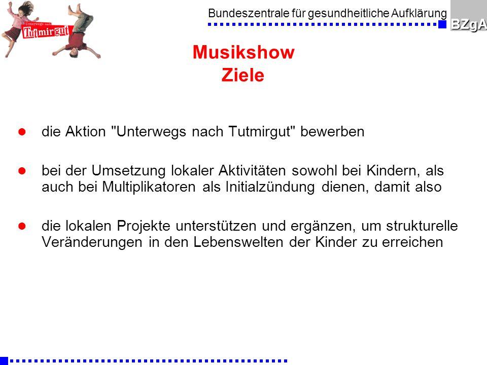 Bundeszentrale für gesundheitliche AufklärungBZgA Musikshow Ziele l die Aktion