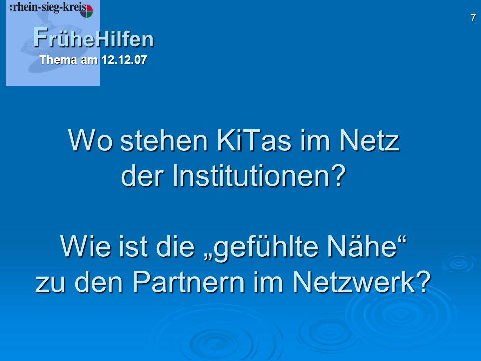 7 Wo stehen KiTas im Netz der Institutionen.Wie ist die gefühlte Nähe zu den Partnern im Netzwerk.