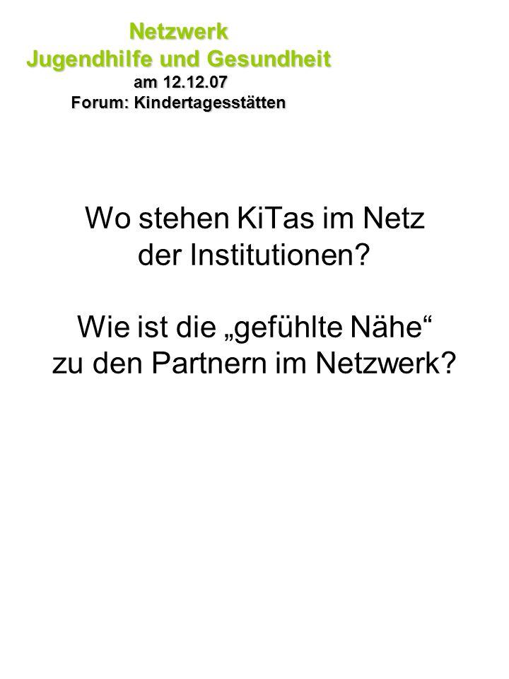 Wo stehen KiTas im Netz der Institutionen? Wie ist die gefühlte Nähe zu den Partnern im Netzwerk? Netzwerk Jugendhilfe und Gesundheit am 12.12.07 am 1