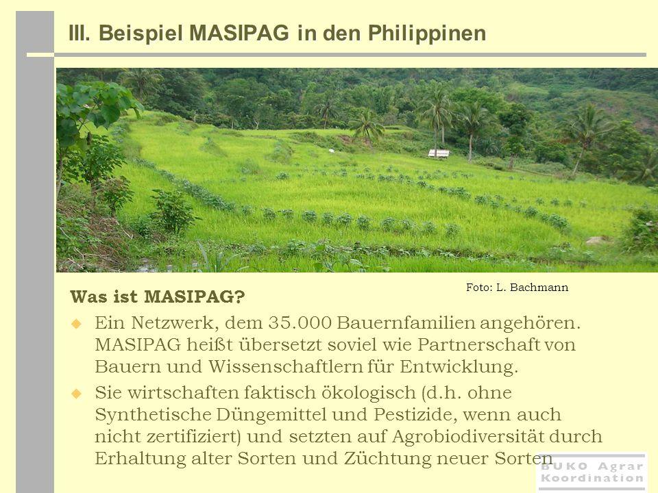 III. Beispiel MASIPAG in den Philippinen Was ist MASIPAG? Ein Netzwerk, dem 35.000 Bauernfamilien angehören. MASIPAG heißt übersetzt soviel wie Partne
