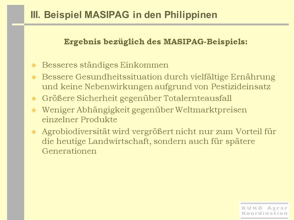 III. Beispiel MASIPAG in den Philippinen Ergebnis bezüglich des MASIPAG-Beispiels: Besseres ständiges Einkommen Bessere Gesundheitssituation durch vie