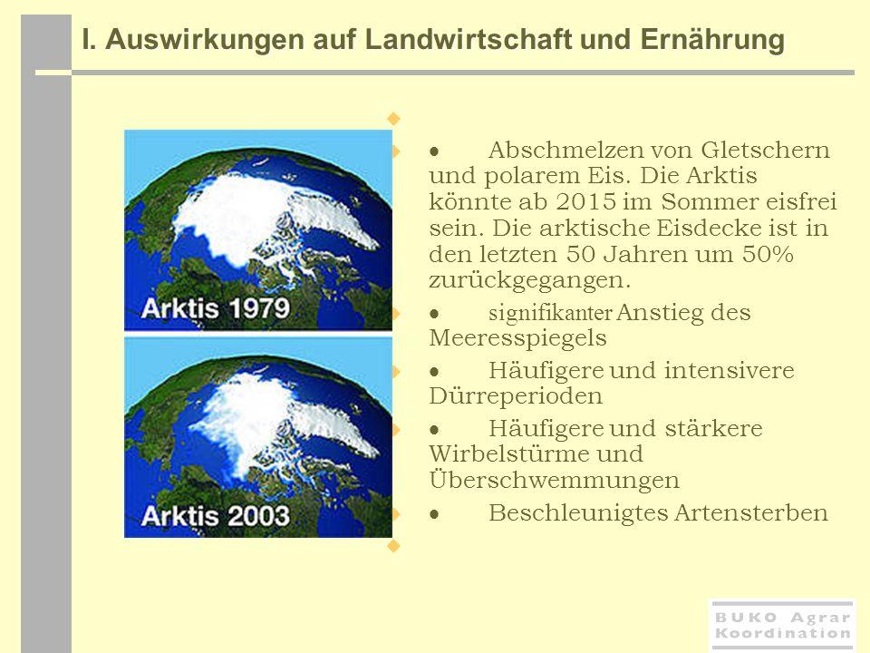I. Auswirkungen auf Landwirtschaft und Ernährung I. Auswirkungen auf Landwirtschaft und Ernährung Abschmelzen von Gletschern und polarem Eis. Die Arkt