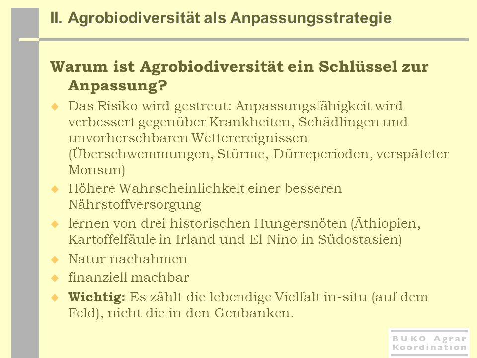 II. Agrobiodiversität als Anpassungsstrategie Warum ist Agrobiodiversität ein Schlüssel zur Anpassung? Das Risiko wird gestreut: Anpassungsfähigkeit w